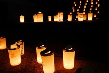 増上寺の境内に並ぶキャンドル