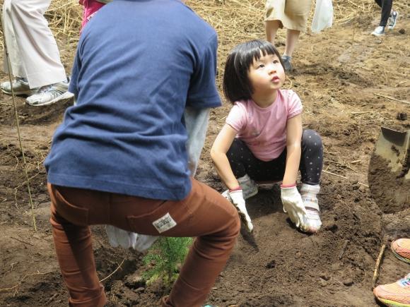 植林を頑張る女の子