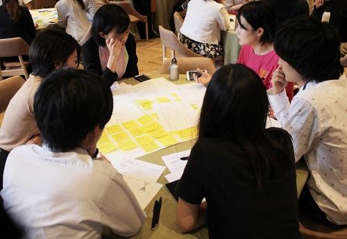 テーブルごとに割り振られた各企業の実践に関して、課題解決に向けたアイディアをふせんに書き込んでいく参加者