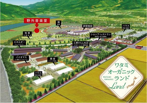 2021年4月29日にオープンした「陸前高田ワタミオーガニックランド」20年後の完成予想図。約25ヘクタールという広大な敷地に、畑や飲食店などが並ぶ